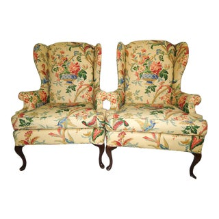 Queen Anne Style Floral Upholstered Wing-Backed Chairs - a Pair