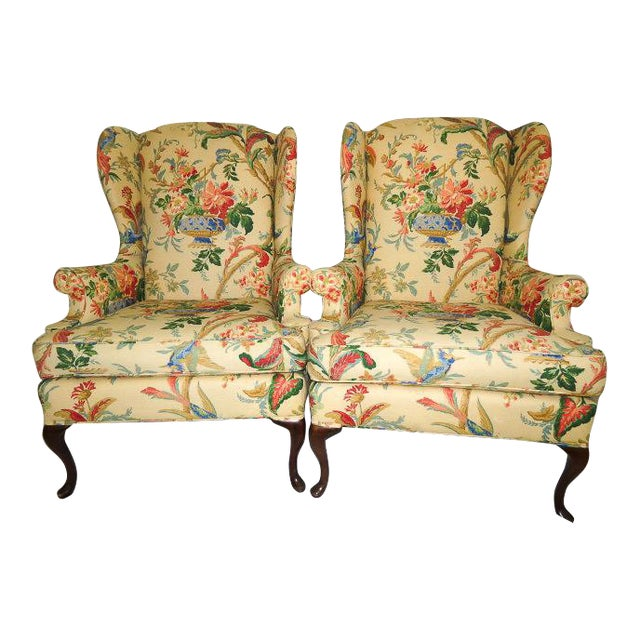 Queen Anne Style Floral Upholstered Wing-Backed Chairs - a Pair For Sale