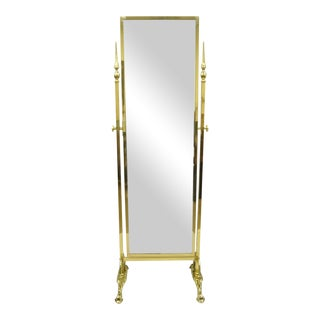 Vintage French Regency Neoclassical Brass Cheval Dressing Mirror For Sale