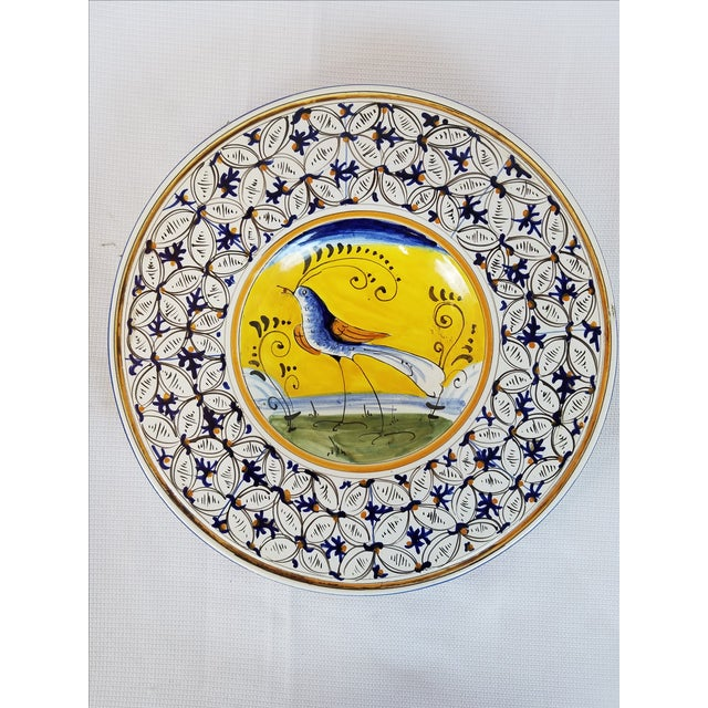 Hand-Painted Yellow & Blue Italian Plate - Image 3 of 4