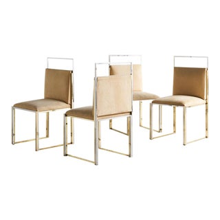 Set of 4 Brass and Chrome Dining Chairs by Cittone Oggi For Sale