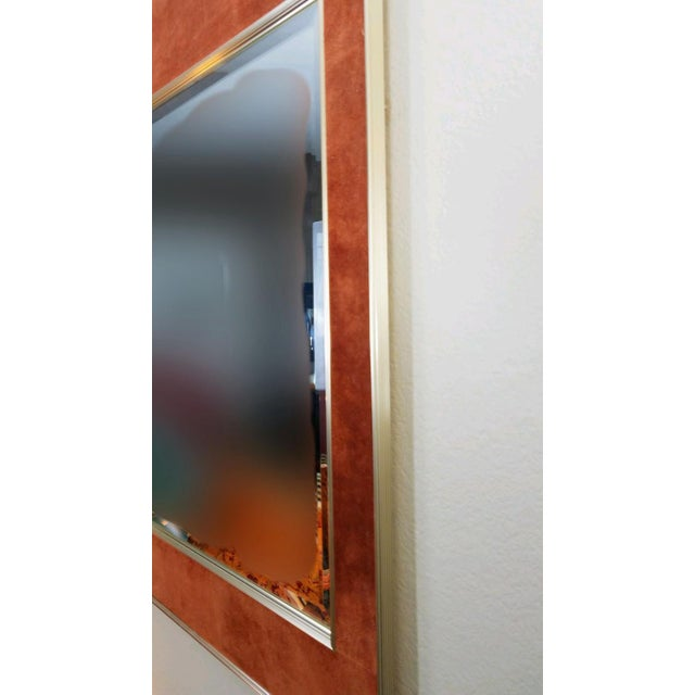 Mid-Century Modern 1950s Vintage La Barge Suede Mirror For Sale - Image 3 of 8