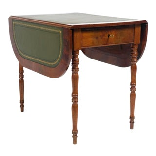 19th Century Louis Philippe French Leather Top Walnut Side Table For Sale