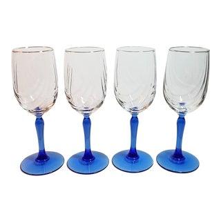 1980s Vintage Lenox Swag Pattern Cobalt Blue Stem Wine Goblets - Set of 4