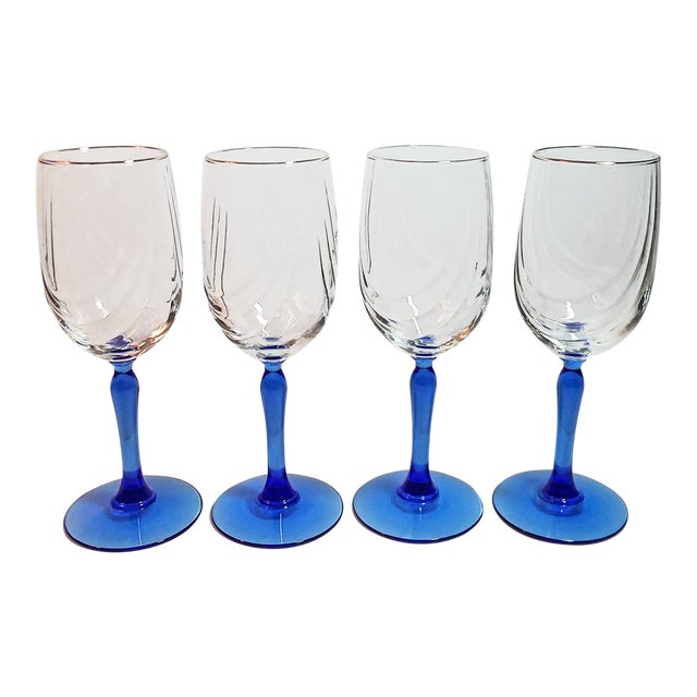 Vintage Lenox Swag Pattern Cobalt Blue Stem Wine Goblets - Set of 4 For Sale