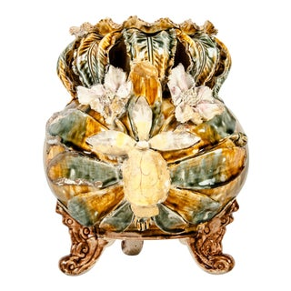 Antique Glazed Porcelain Decorative Footed Piece For Sale