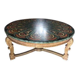 Thomas Morgan 22k Carved Giltwood Center Table With Faux Painted Top For Sale