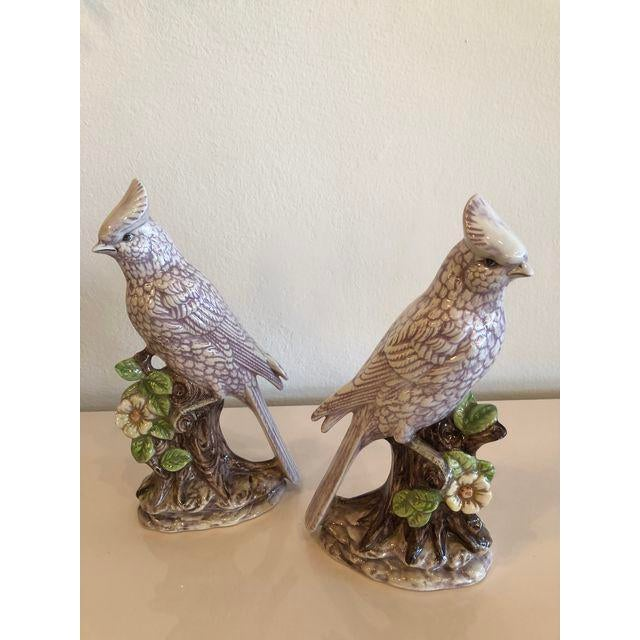 Lovely pair of lavender Cockatoo parrot birds signed. No chips or breaks