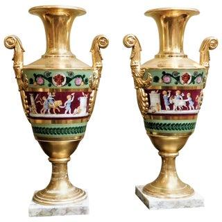 Large Pair of Old Paris Empire Porcelain Vases, Paris, circa 1810 For Sale