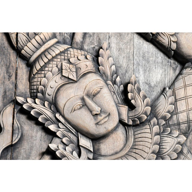 Brown Southeast Asian Wood Carving of a Goddess For Sale - Image 8 of 13
