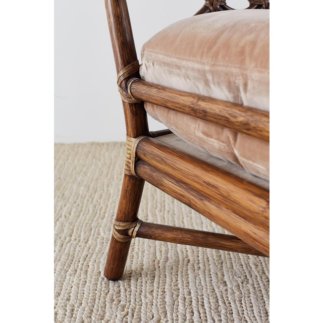 Pair of McGuire Bamboo Rattan Target Lounge Chairs For Sale - Image 11 of 13
