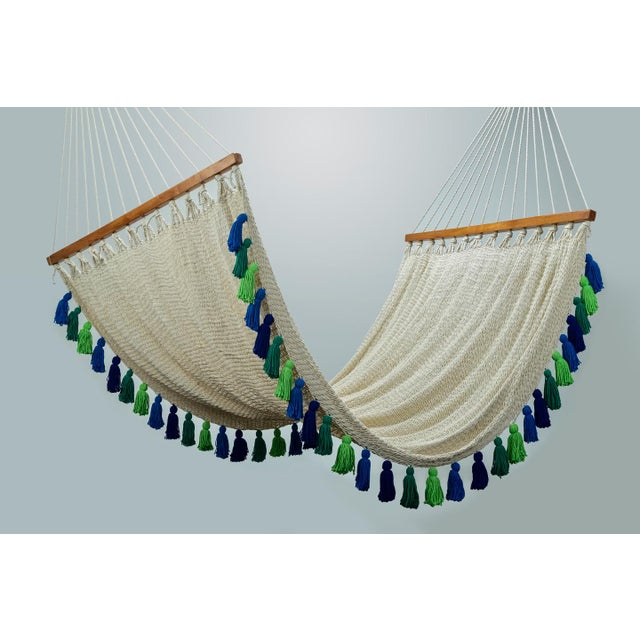 2020s Handmade Deluxe Natural Cotton Hammock with Rainforest Inspired Tassels with Wooden Bar For Sale - Image 5 of 9