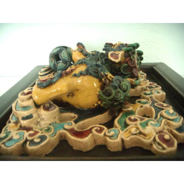 Framed Antique Chinese Ceramic Tile - Foo Dog/Lion For Sale In Tampa - Image 6 of 10