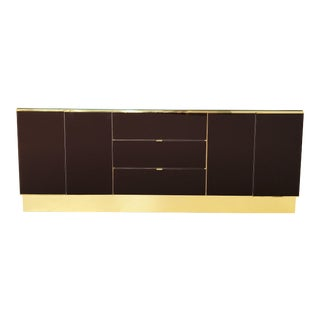 Glamorous Brass and Mirrored Dresser / Credenza by Ello Furniture For Sale