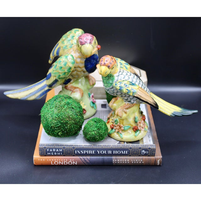 Mid-20th Century Colorful Chinese Export Porcelain Parrot Figurines - a Pair For Sale - Image 9 of 12