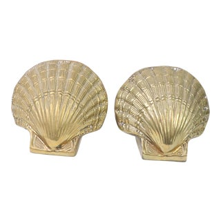 1960s Vintage Nautical Mid Century Modern Solid Brass Seashells Bookends - a Pair For Sale