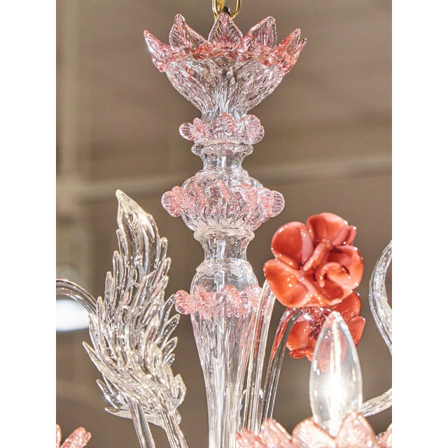 Murano Pink Rose and Crystal Glass Chandelier - Image 4 of 10