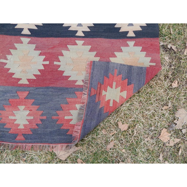 "Vintage Muted Orange Turkish Kilim Runner Rug 2'6"" X 9'4"" For Sale - Image 12 of 13"