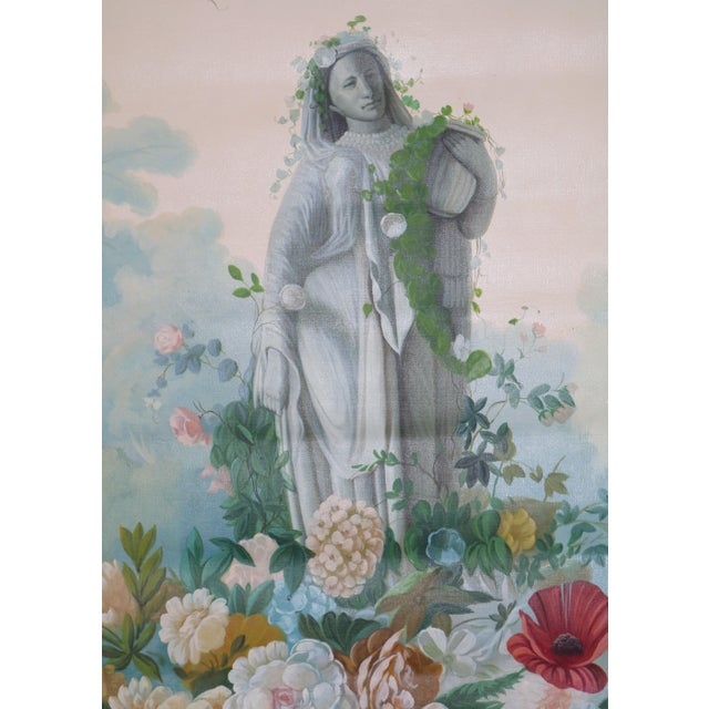 This is a Vintage Oil Painting on Canvas. The subject is a tall Statue of a Female in a Floral Setting with a Trellis...