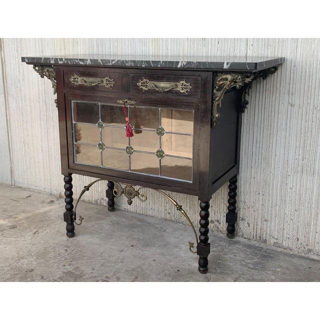 19th Spanish Buffet, Cupboard in Walnut and Top Marble With Bronze Decorations For Sale - Image 11 of 12