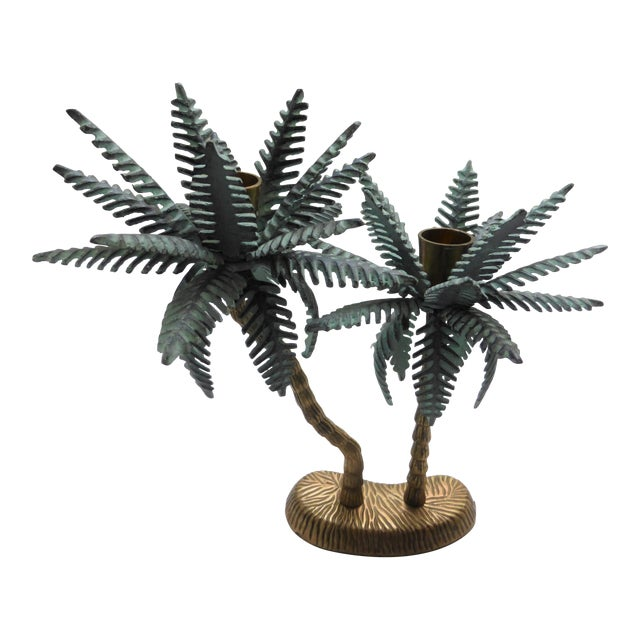 Vintage Verdigris Brass Tropical Palm Tree Dual Taper Candle Holder For Sale