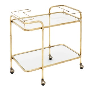 Mid-Century Brass and Glass Bar Cart For Sale