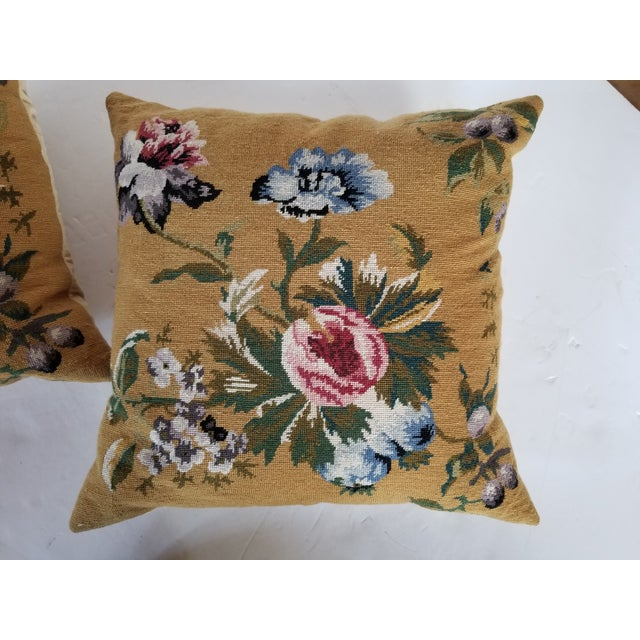 Vintage Needlepoint Floral Pillows - a Pair For Sale - Image 10 of 11