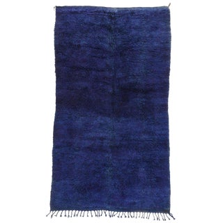 20th Century Moroccan Blue Indigo Beni M'Guild Rug - 5′10″ × 10′4″ For Sale