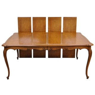 1970s French Country Kindel Borghese Louis XV Cherry Wood Dining Table For Sale