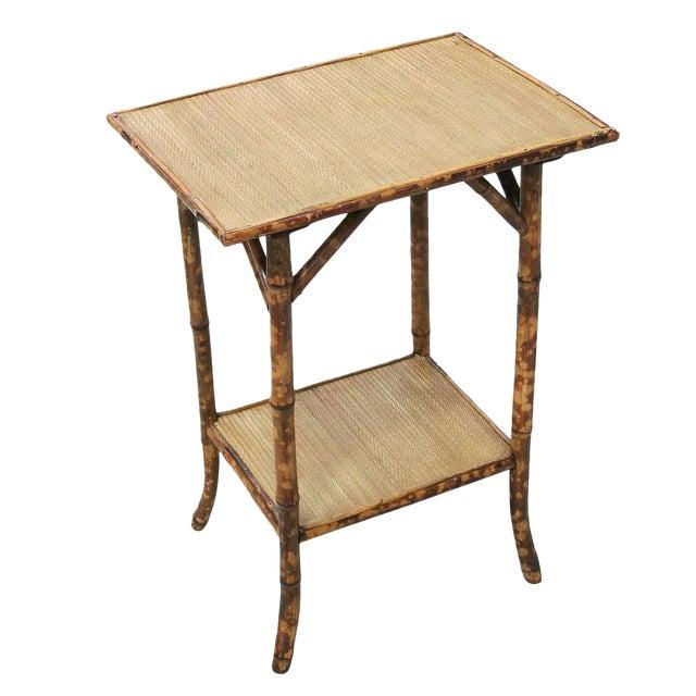 Restored Tiger Bamboo Pedestal Side Table With Bottom Shelf For Sale