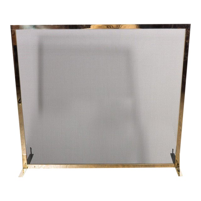 Ultra Chic Custom Minimalist Fire Screen Polished and Lacquered Brass For Sale
