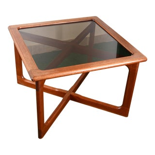 Midcentury Danish Dyrlund Sculptural Teak Wood Table With Smoked Glass Top For Sale