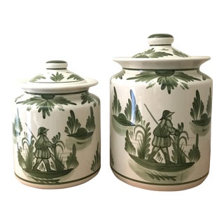 The Cooley Collection Mia Green Toile Kitchen Canisters - a Pair For Sale