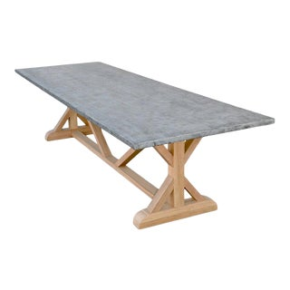 Zinc Top Farm Table Made From Teak For Sale