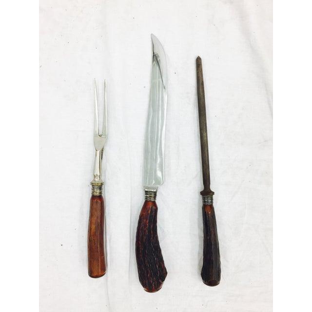 Antler Vintage Sheffield Silver & Antler Horn Carving Set For Sale - Image 7 of 7