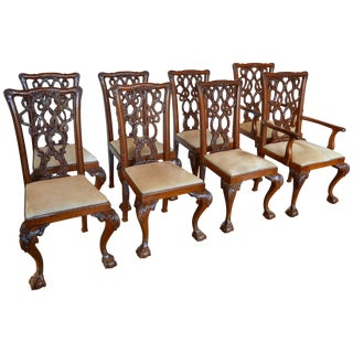 English Mahogany Chippendale Dining Chairs in Cowhide - Eight For Sale