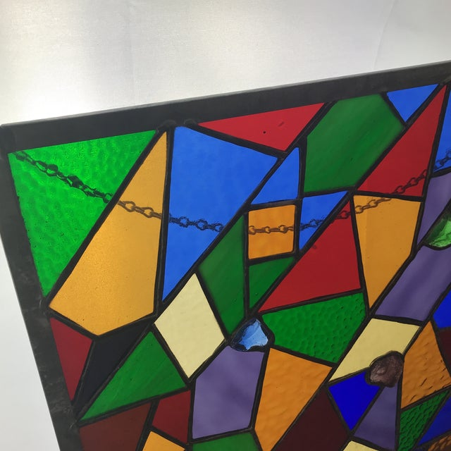 Square Rainbow Stained Glass For Sale - Image 4 of 7