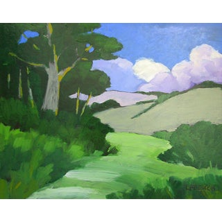 Santa Cruz California Foothills Clouds Landscape Oil Painting Lynne French For Sale
