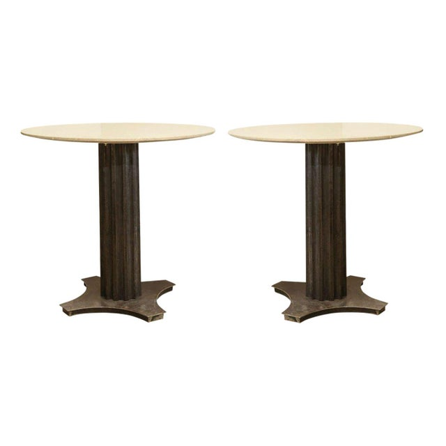 Two Limestone Top Iron Tables For Sale - Image 10 of 10