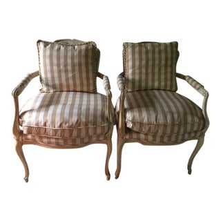 Vintage French Provincial Upholstered Armchairs - a Pair
