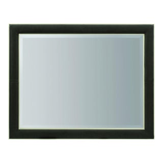 Caracole Modern Dark Taupe Leather Wall Mirror For Sale