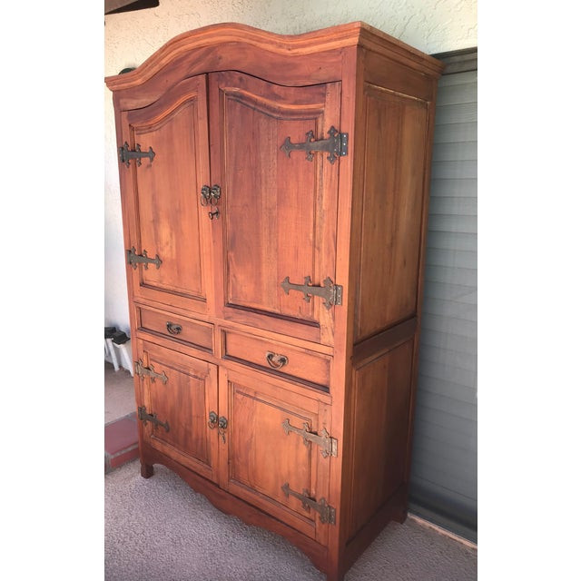 Solid Wood, Very heavy piece. 50W x 82H x 24D 21W x 19L Drawer 5H Has 1 shelf that is adjustable to different heights 2...