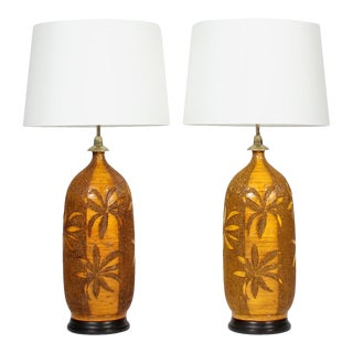 Retro Mid-Century Modern Etched Palm Tree Pottery Lamps - A Pair For Sale