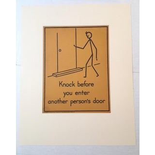 """Vintage 1940's Double-Sided """"Good Manners"""" Stick Figure Poster"""