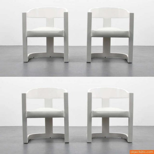 "1980s Vintage Karl Springer ""Onassis"" Arm Chairs- Set of 4 For Sale - Image 9 of 10"