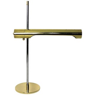 Sleek Brass and Chrome Telescoping Desk Lamp, 1970s For Sale