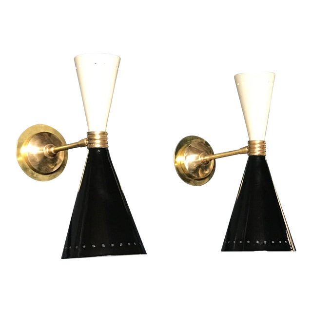 1960s Italian Black and White Brass Sconces - a Pair For Sale