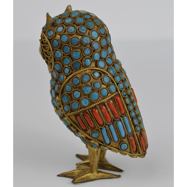Boho Chic Nepalese Brass Owl Figurine With Turquoise and Coral For Sale - Image 3 of 13