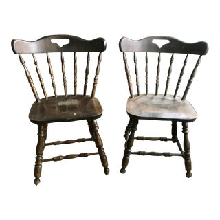 S. Bent Bros Colonial Rustic Dining Chairs - A Pair