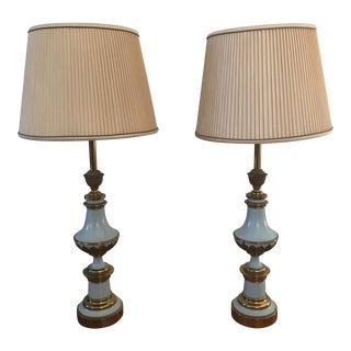 Stiffel Brass & Enamel Lamps - A Pair
